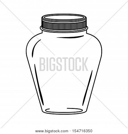 silhouette glass jar decorative with lid vector illustration