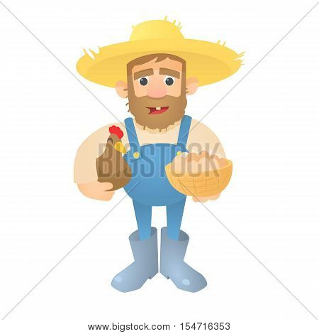 Farmer with hen and eggs icon. Flat illustration of farmer with hen and eggs vector icon for web