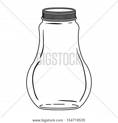 silhouette wide glass bottle with lid vector illustration