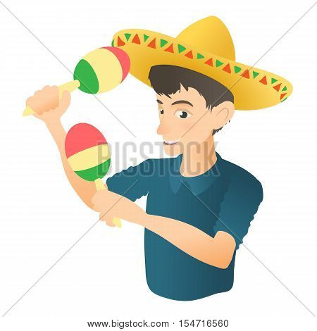 Man plays on maracas icon. Flat illustration of man plays on maracas vector icon for web