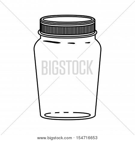silhouette jar of jam with lid vector illustration