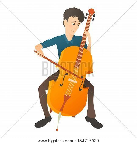 Man plays on cello icon. Flat illustration of man plays on cello vector icon for web