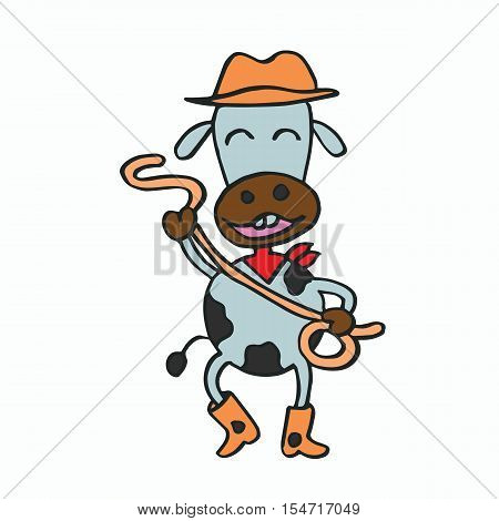 Cartoon cowboy cow for kids vector illustration