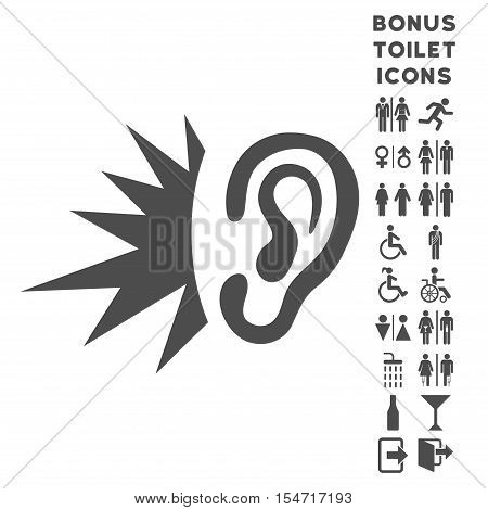 Listen Loud Sound icon and bonus gentleman and woman restroom symbols. Vector illustration style is flat iconic symbols, gray color, white background.