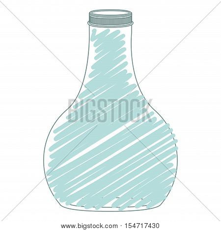 silhouette wide glass bottle down with blue stripes vector illustration