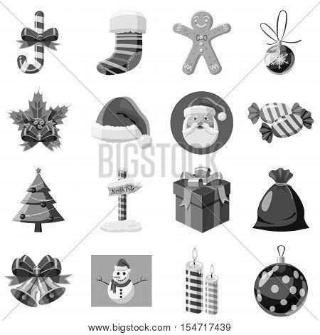 Christmas icons set. Gray monochrome illustration of 16 christmas vector icons for web