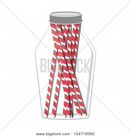 glass jar with jar with multiple straw vector illustration