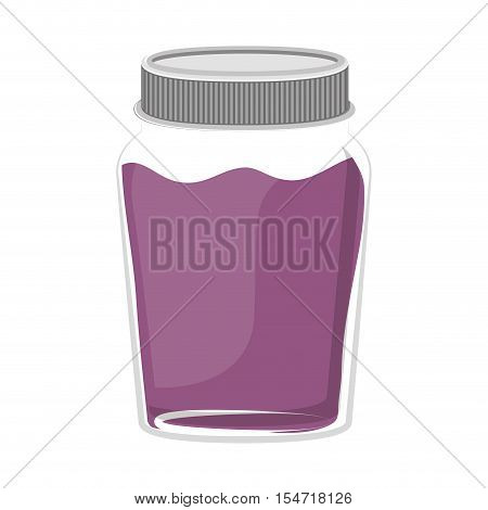silhouette jar of purple jam with lid vector illustration