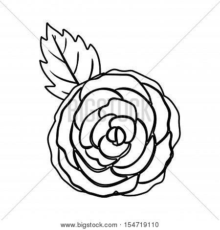 black silhuette rose with leaf vector illustration