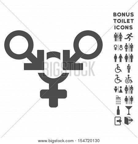 Polyandry icon and bonus gentleman and woman restroom symbols. Vector illustration style is flat iconic symbols, gray color, white background.