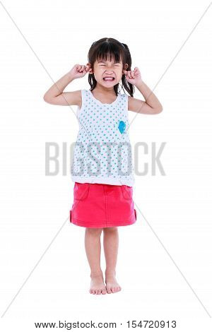 Full Body Of Child Putting Finger On Her Ears. Isolated On White Background.