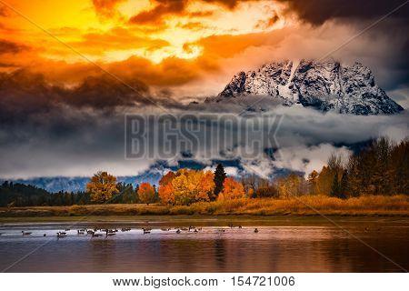 Grand Teton National Park Cloudy Sunrise Fall Colors