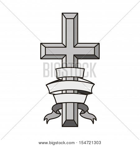 religious cross icon with ribbon over white background. catholic and christian religion design. vector illustration
