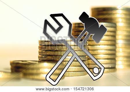 Тhe service symbol on a background of money . The concept of quality of service .