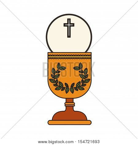 gold holy grail with cross. religion catholic and christianity icon. vector illustration