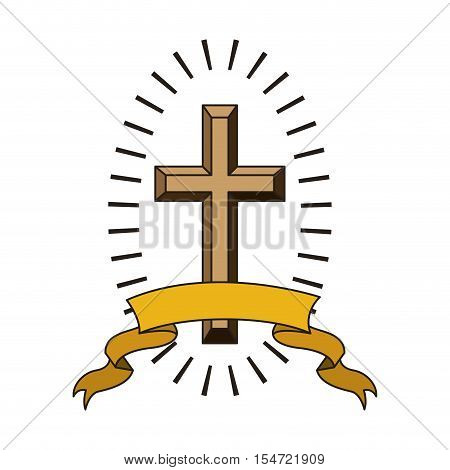 religious cross icon with yellow ribbon over white background. catholic and christian religion design. vector illustration