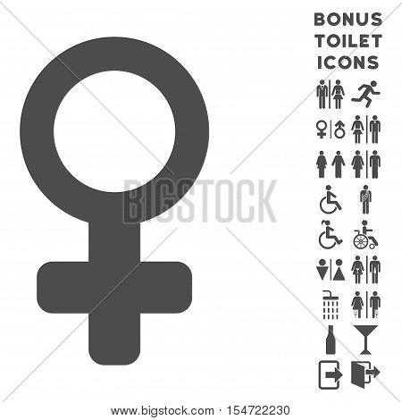 Venus Symbol icon and bonus man and woman toilet symbols. Vector illustration style is flat iconic symbols, gray color, white background.