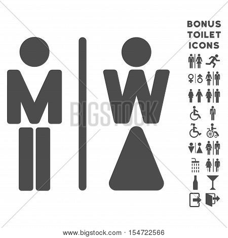 WC Persons icon and bonus gentleman and female WC symbols. Vector illustration style is flat iconic symbols, gray color, white background.