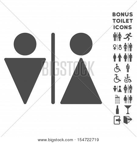 WC Persons icon and bonus gentleman and woman WC symbols. Vector illustration style is flat iconic symbols, gray color, white background.