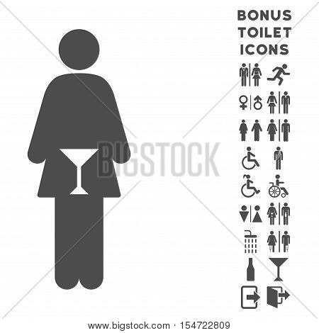 WC Woman icon and bonus man and lady WC symbols. Vector illustration style is flat iconic symbols, gray color, white background.