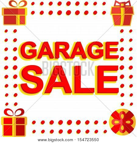 Big winter sale poster with GARAGE SALE text. Advertising  banner template