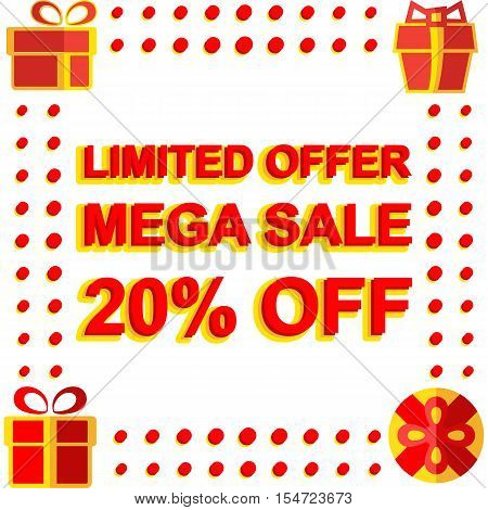 Big winter sale poster with LIMITED OFFER MEGA SALE 20 PERCENT OFF text. Advertising  banner template
