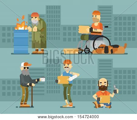 Homeless hungry beggar holding message banner and begs for money vector illustration. Cityscape background. Homeless skinny saggy man in dirty old clothes character. Pauper and bum man on street.