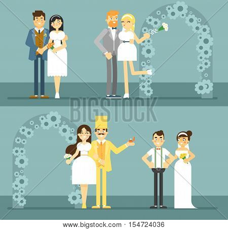 Wedding couple vector illustration. Happy bride and groom couple set in flat design. Wedding invitation card template. Retro wedding characters, just married, newlywed couple, young lovers.