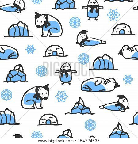 Seamless pattern with cute doodle seal, polar bear and walrus. Wallpaper with snowflakes, igloo and icebergs. Funny arctic animals wear scarves