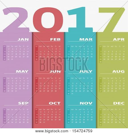 Calendar for 2017. Colorful vector. Calendar 2017 Set of 12 Months. illustration Vector template of color 2017 calendar.