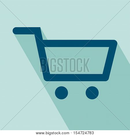 Shopping Cart Icon. Flat Shopping Cart icon. EPS 10 vector illustration for design. All in a single layer. Shopping Cart flat icon. Elements for design. Shopping Cart Icon on blue background.