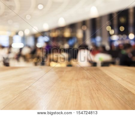 Table top Counter Blurred People Restaurant Shop interior background