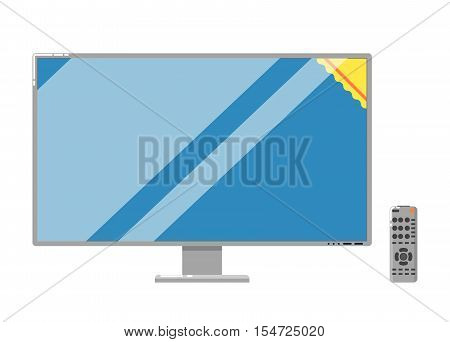 Modern LCD TV with remote control isolated on white background vector illustration. Household appliances in flat design. Home electro technics. LED television monitor. Plasma panel.