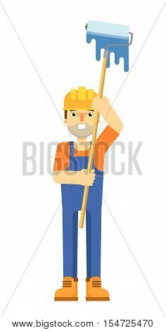 Worker builder in uniform and helmet holding paint roller isolated on white background vector illustration. Smiling construction worker character in flat design.