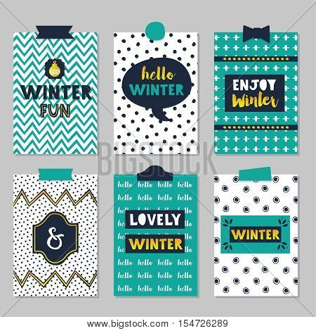 Cute assorted winter quotes journal cards set on beautiful and trendy patterns background