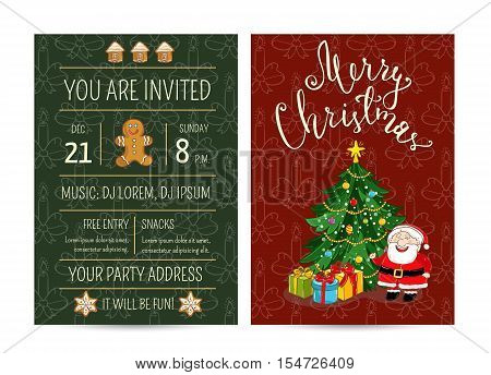 Cute Santa, wrapped gifts, decorated christmas tree. Merry Christmas and Happy New Year greetings. Template of christmas party invitation. Design for christmas party invintation. Christmas concept. Ad for christmas party. Merry Christmas