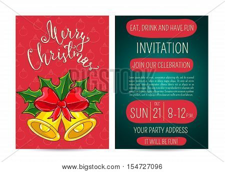 Christmas bells with holly leaves and ribbon bow. Merry Christmas and Happy New Year greetings. Template of christmas party invitation. Design for christmas party invintation. Christmas concept. Ad for christmas party. Merry Christmas