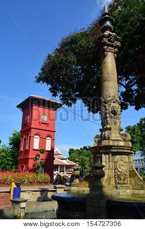 Victoria fountain and red clock tower at Melaka