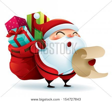 Santa Claus carrying sack full of gifts and holding a list
