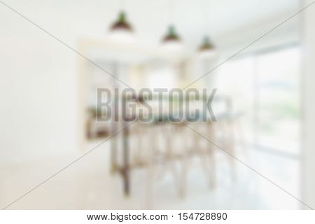Defocus dining table in dining room at home