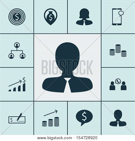 Set Of Human Resources Icons On Business Woman, Money And Phone Conference Topics. Editable Vector I