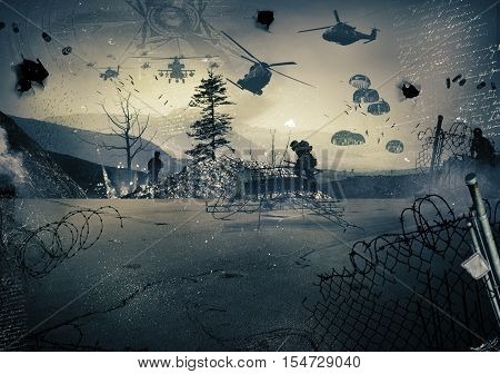 Background of a landscape at war with military helicopters in the sky
