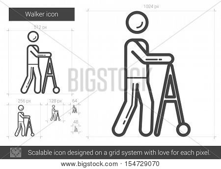 Walker vector line icon isolated on white background. Walker line icon for infographic, website or app. Scalable icon designed on a grid system.