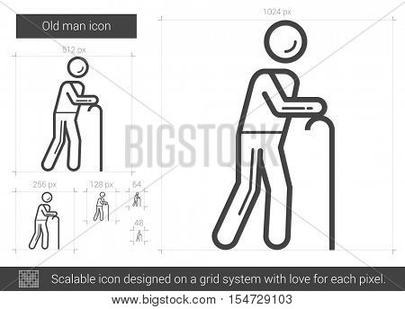 Old man vector line icon isolated on white background. Old man line icon for infographic, website or app. Scalable icon designed on a grid system.