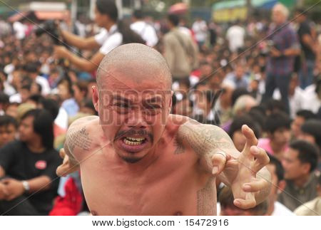 Tattoo Festival At Wat Bang Phra In Nakhon Chaisi Near Bangkok, Thailand