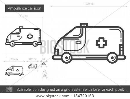Ambulance car vector line icon isolated on white background. Ambulance car line icon for infographic, website or app. Scalable icon designed on a grid system.