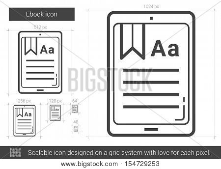 Ebook vector line icon isolated on white background. Ebook line icon for infographic, website or app. Scalable icon designed on a grid system.