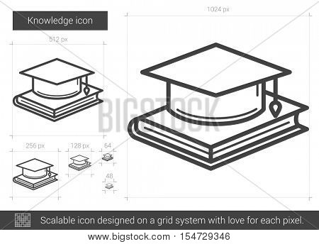 Knowledge vector line icon isolated on white background. Knowledge line icon for infographic, website or app. Scalable icon designed on a grid system.