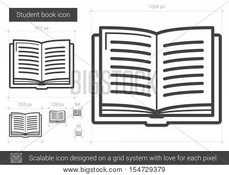 Student book vector line icon isolated on white background. Student book line icon for infographic, website or app. Scalable icon designed on a grid system.