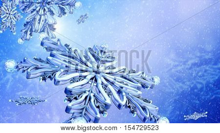 Close up of flying snowflake on blue snow background. Group of flying snowflakes on clear blue winter sky.